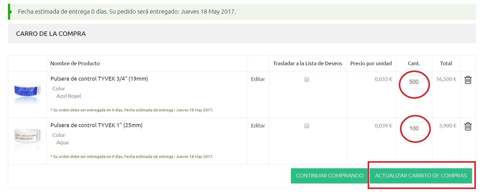 Cambiar cantidad a ordenar -euroko.es